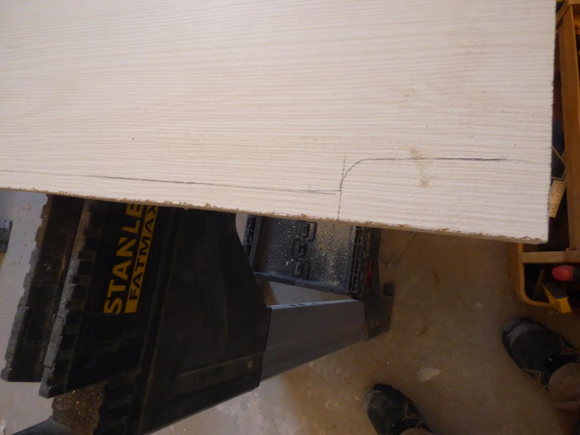 Mark the moulding on the end panel