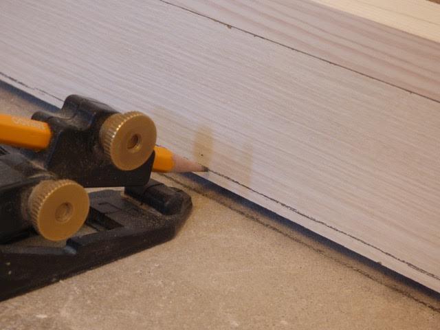 Scribe the floor rail