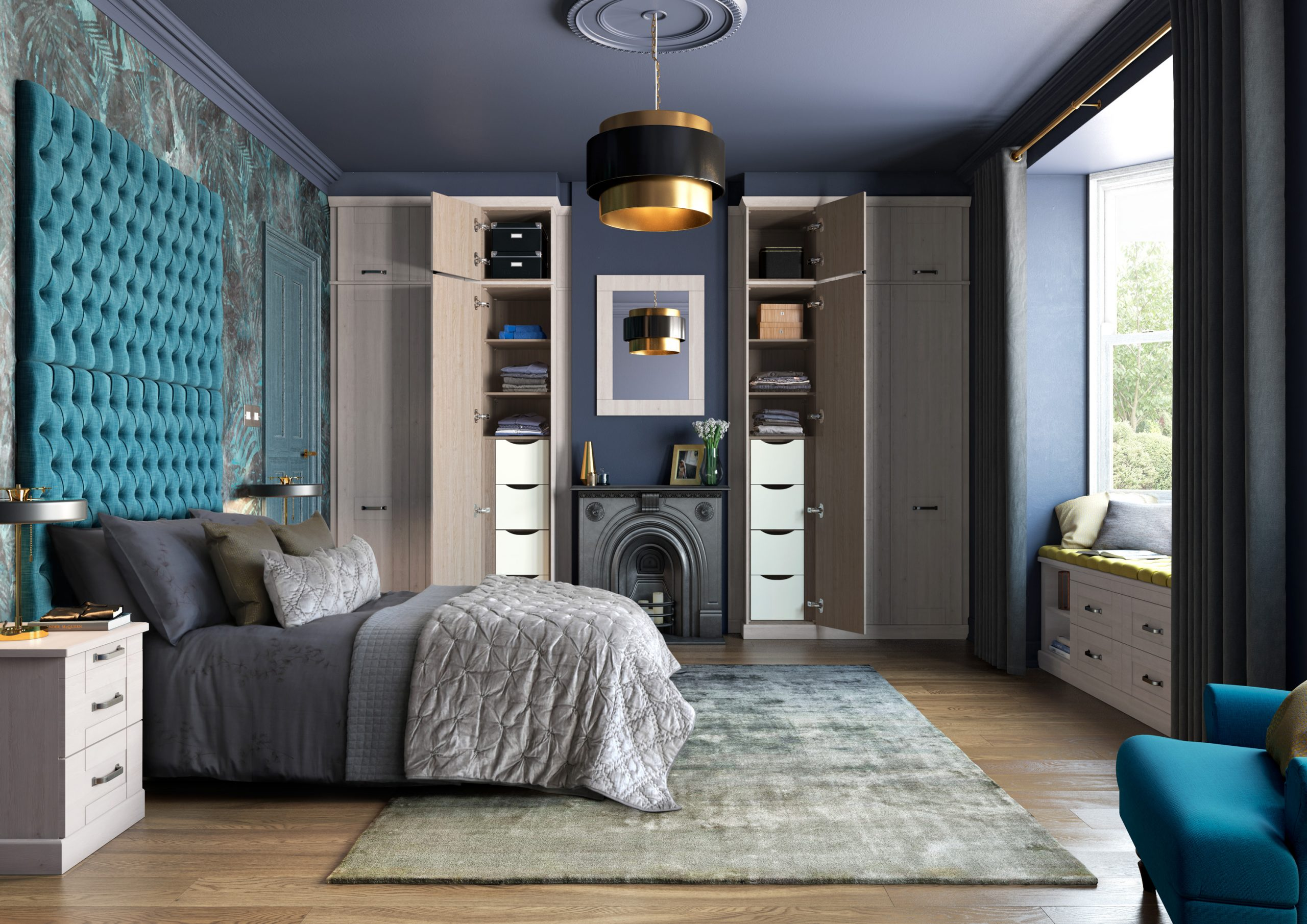 Bedroom with sliding wardrobe doors